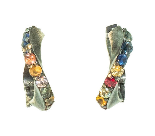 TheFORGE EARRINGS WITH MULTICOLORED SAPPHIRES