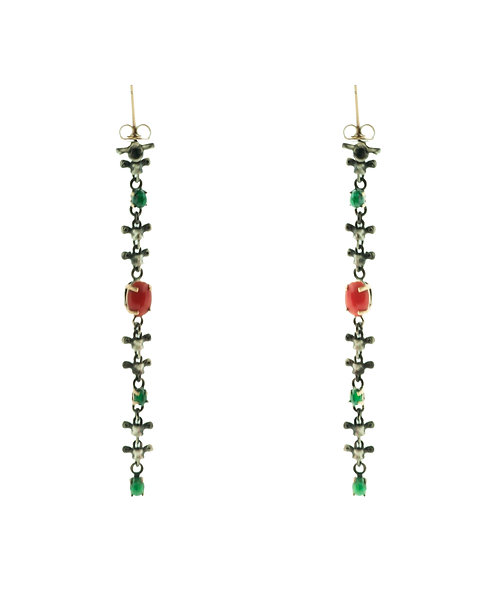 Spine Earrings with Coral and Emeralds (Shoulder Dusters)
