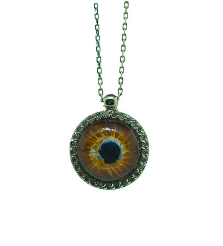 HAND PAINTED EVIL EYE PENDANT ON 14K GOLD WITH 0.23 CT DIAMONDS