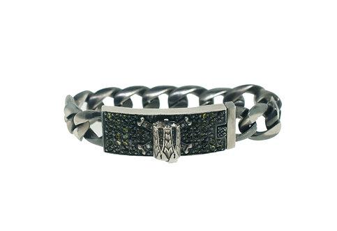 Revolver and Crossbones link bracelet