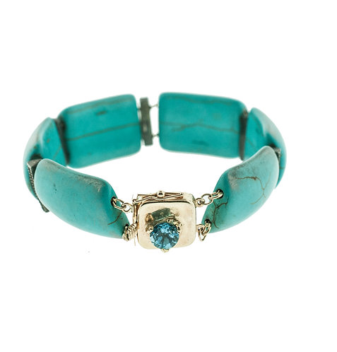 Turquoise Bracelet with Blue Topaz Claw Clasp