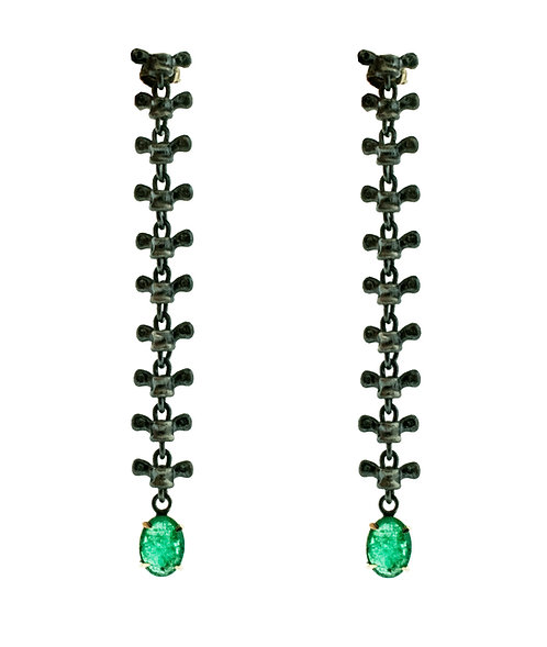 Spine Earrings with Emeralds ( Shoulder Dusters )