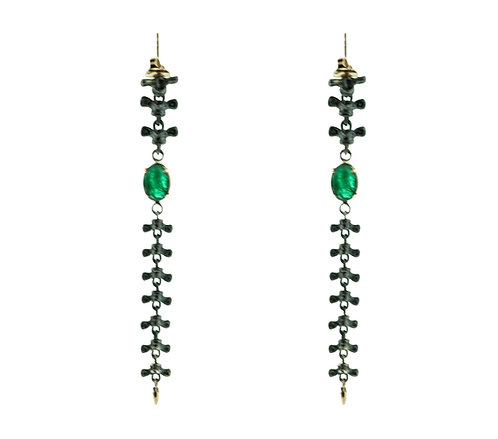 Spine Earrings with Emeralds (Shoulder Duster)