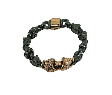 Lion and Lioness 8 inch Bracelet in 18K gold and silver