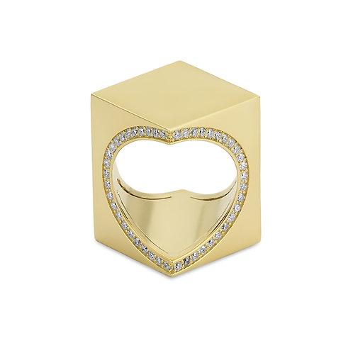 TheWord 18K Yellow Gold with Diamonds Around the Heart