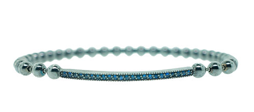 Pitchblack Stretchable Blue Sapphires Bracelet
