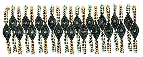 EVIL EYE BEADED BRACELETS IN SILVER WITH ZIRCONIUMS