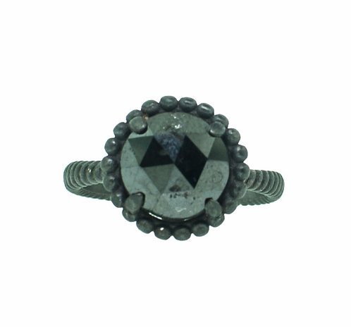 PITCHBLACK II ROUND ROSE CUT BLACK DIA RING