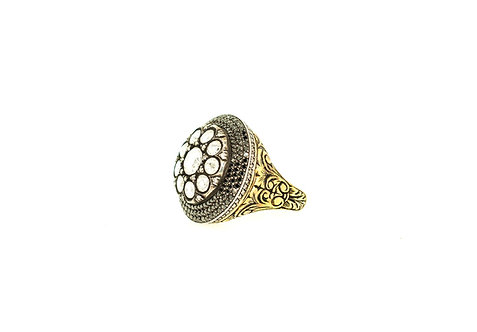 Black Diamond and Rosecut Diamonds Ring