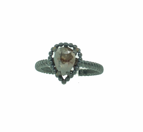 PITCHBLACK II BROWN PEAR SHAPE DIA RING