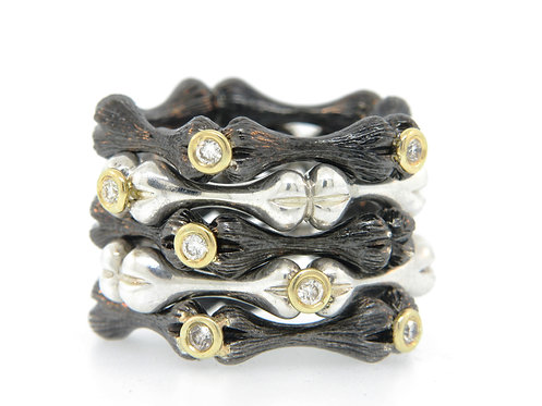 Stackable Bone Bands with Diamonds