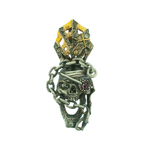 Ruby Patch Pirate Skull Pendant