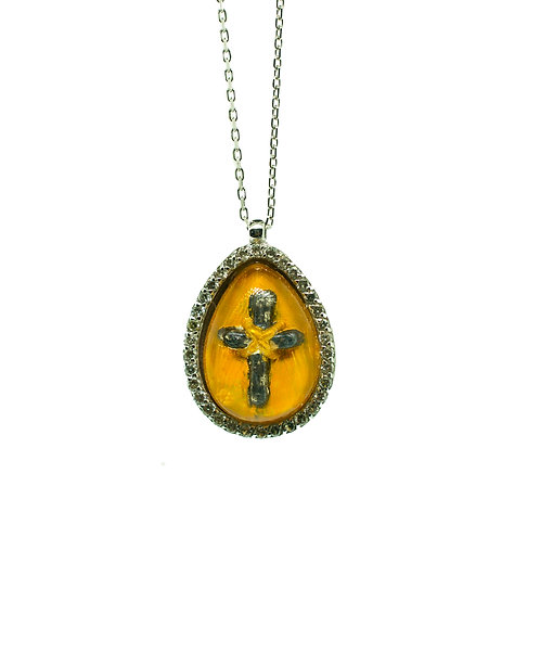 HAND PAINTED CROSS PENDANT ON 14K GOLD WITH 0.23 CT DIAMONDS