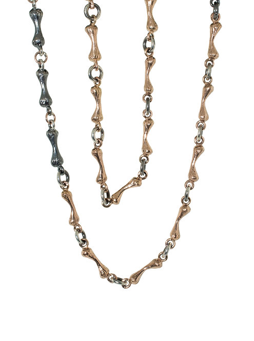 Bone Chain  Silver and 14K Rose Gold - 24 inch
