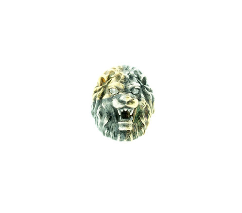 Silver and Gold Lion Head Ring with Diamonds