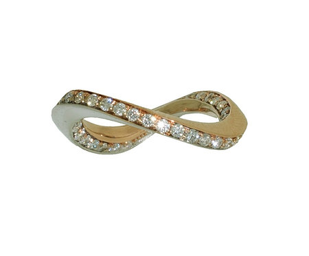 TheFORGE WEDDING BAND WITH WHITE DIAMONDS IN 18K ROSE AND WHITE GOLD