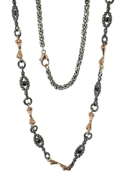 Bone Chain  Silver and 14K  Gold and Black Diamonds- 24 inch