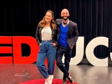 Eduardo del Olmo con Eva Marciel en Comunicoach, mentores de charlas TED x UC3M.