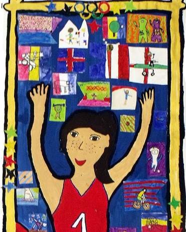 Olympic banner design with children at D