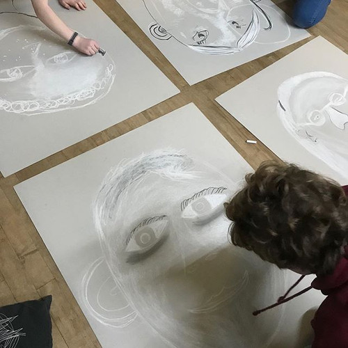 Large scale chalk and charcoal portraits