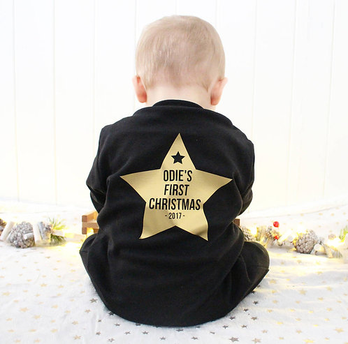 Baby's First Christmas Star Sleepsuit