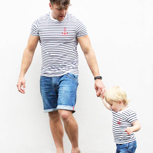 Stripy Anchor Parent And Child T Shirt Set