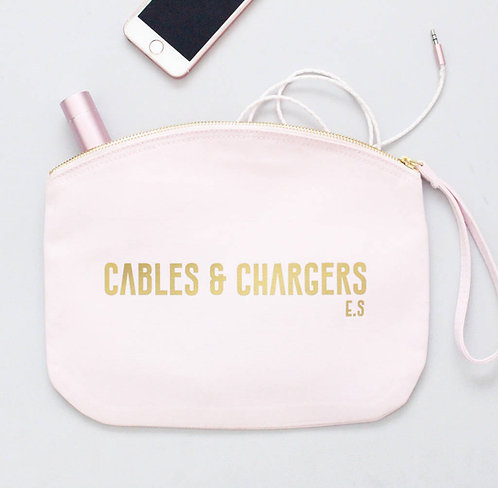 Personalised 'Cables And Chargers' Curved Zip Bag
