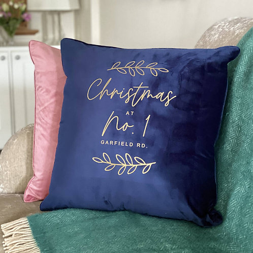 Large Personalised Home Christmas Cushion