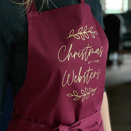 'Christmas At The …' Personalised Christmas Apron