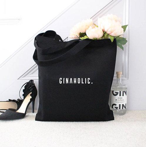 'Ginaholic' Large Black Tote Bag