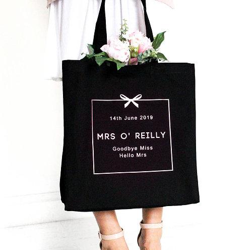 Personalised 'Mrs …' Wedding Tote Bag