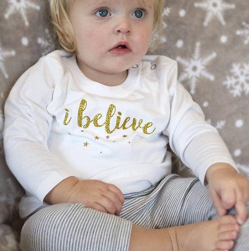 'I Believe' Glitter Baby Pyjamas