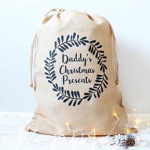Personalised Luxury Hessian Christmas Sack