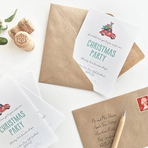 Illustrated Christmas Party Invitations
