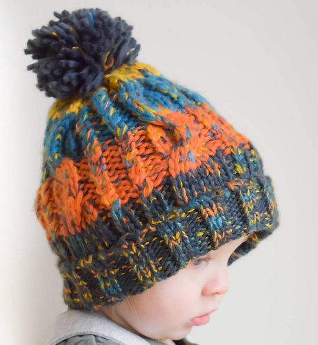 Toddler Corkscrew Knitted Bobble Hat