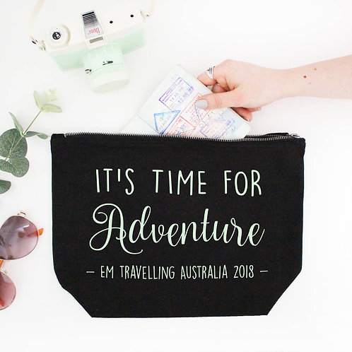 Large Personalised Adventure Travel Make Up Bag
