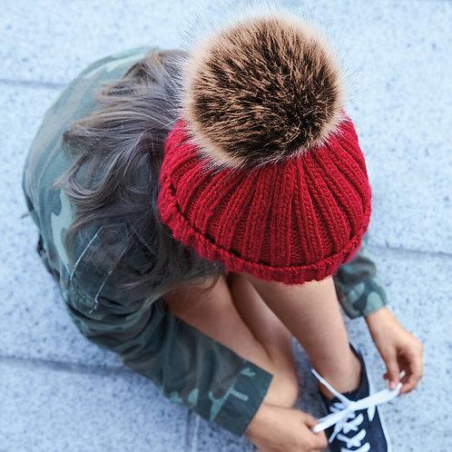 Kids Chunky Fur Pom Pom Beanie Hat