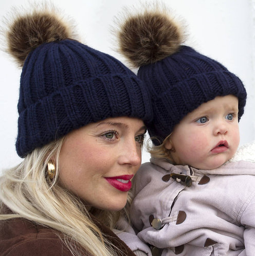 Mother And Daughter Matching Pom Pom Beanie Hats