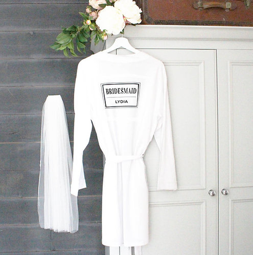'Bridesmaid' Personalised Wedding Robe