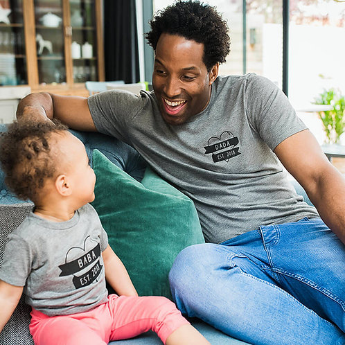 Mama, Dada, Baba Est. T Shirt Set
