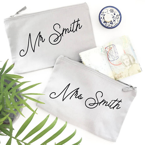Mr And Mrs Personalised Travel Bags
