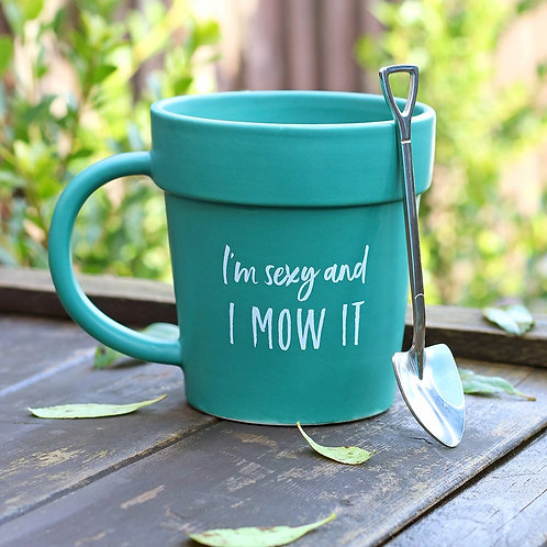 'I'm Sexy and I Mow it' Mug with shovel spoon
