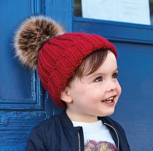 Toddler Chunky Fur Pom Pom Beanie Hat