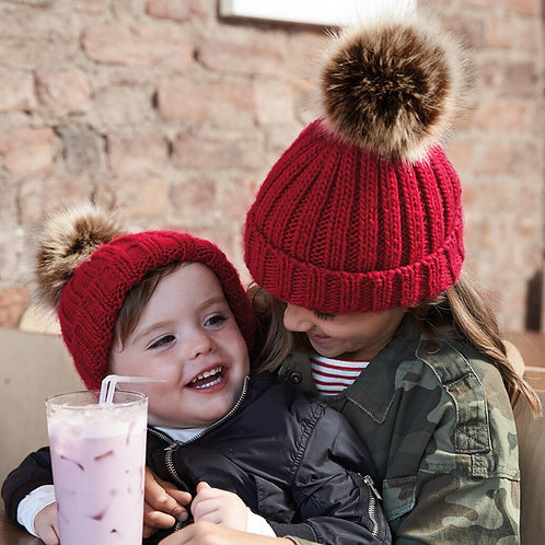 Matching Sibling Pom Pom Beanie Hats