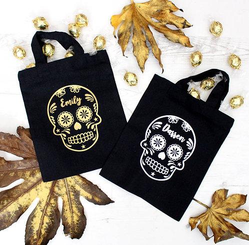 Halloween Sugar Skull Personalised Trick Or Treat Bag