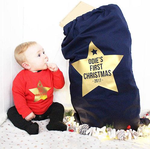 Personalised Metallic Star First Christmas Sack