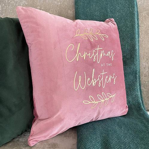 Large 'Christmas At The …' Family Christmas Cushion