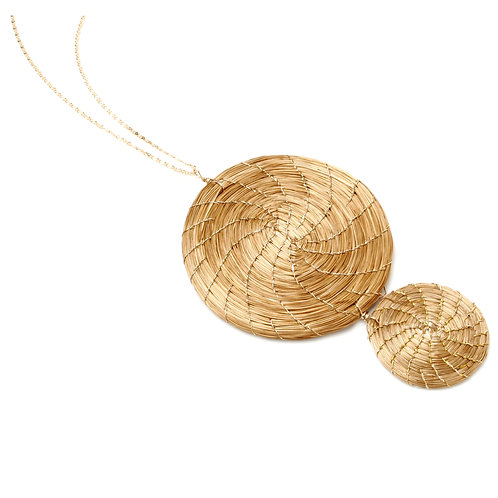 Small and large golden grass circles pendant