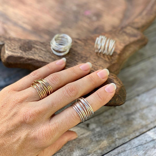 Twistable hand wrapped ring