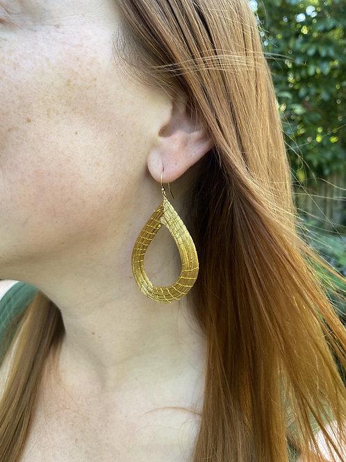 Golden grass drop earrings